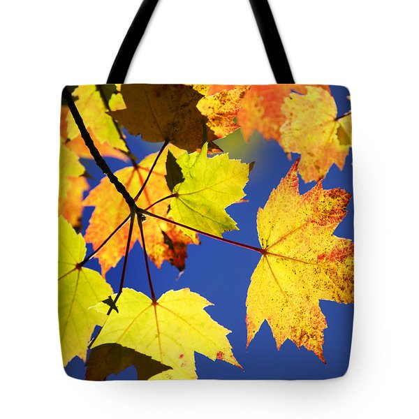 Colorful Autumn Maple Leaves Abstract Art Tote Bag by Christina Rollo