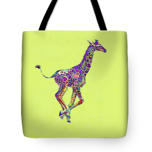 Colorful Baby Giraffe Tote Bag by Jane Schnetlage