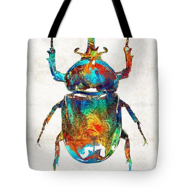 Colorful Beetle Art - Scarab Beauty - By Sharon Cummings Tote Bag by Sharon Cummings
