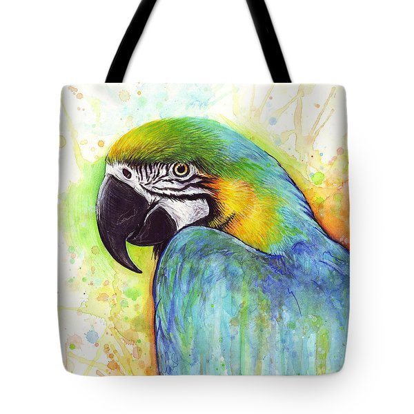 Macaw Watercolor Tote Bag by Olga Shvartsur