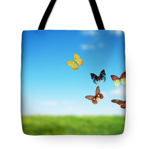 Colorful Buttefly Spring Field Tote Bag by Michal Bednarek