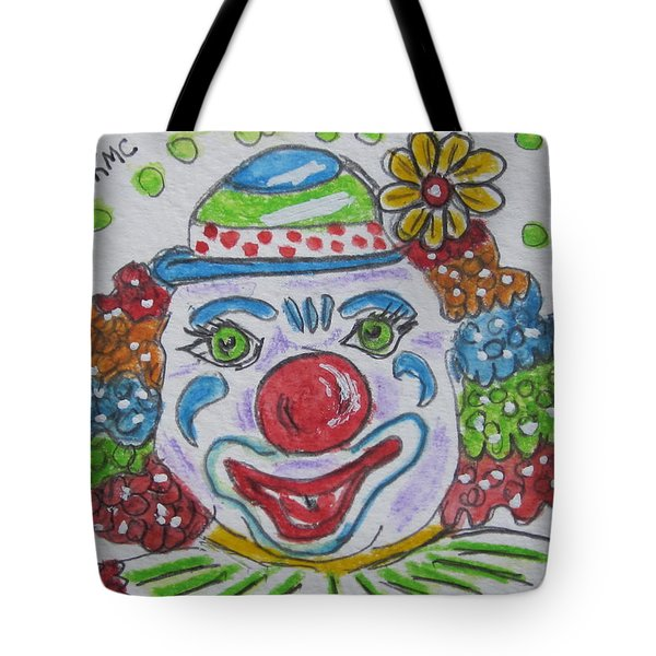 Colorful Clown Tote Bag by Kathy Marrs Chandler