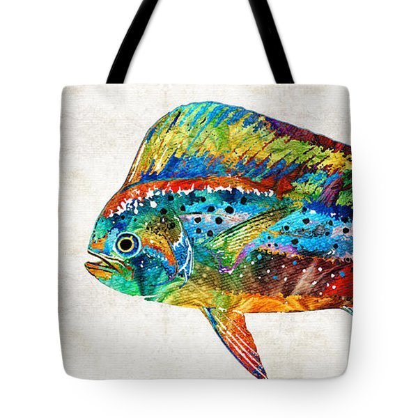 Colorful Dolphin Fish By Sharon Cummings Tote Bag by Sharon Cummings