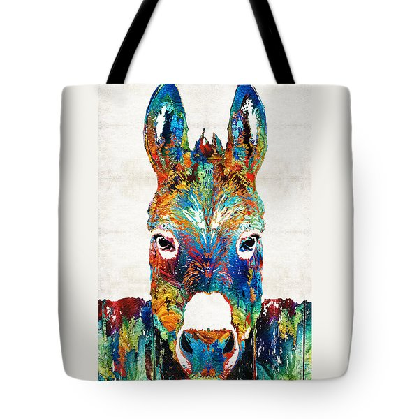 Colorful Donkey Art - Mr. Personality - By Sharon Cummings Tote Bag by Sharon Cummings