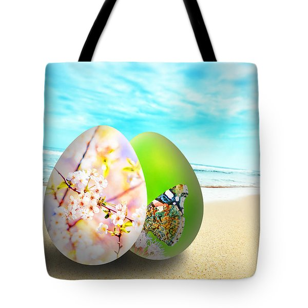 Colorful Easter Eggs On Sunny Beach Tote Bag by Michal Bednarek