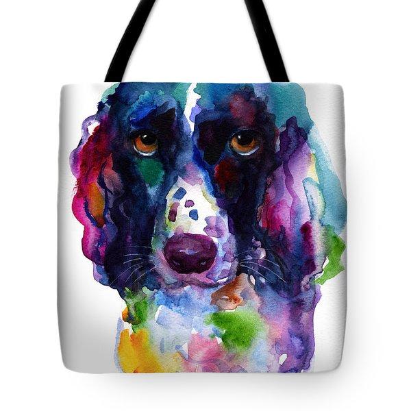 Colorful English Springer Setter Spaniel Dog Portrait Art Tote Bag by Svetlana Novikova