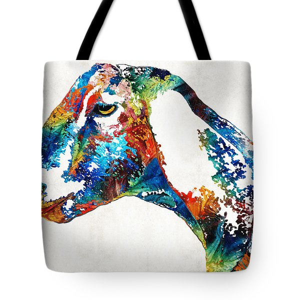 Colorful Goat Art By Sharon Cummings Tote Bag by Sharon Cummings
