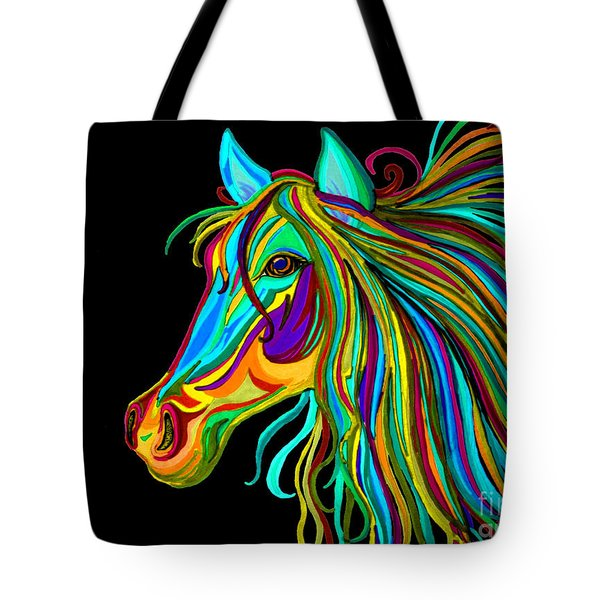 Colorful Horse Head 2 Tote Bag by Nick Gustafson
