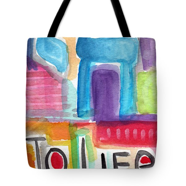 Colorful Life- Abstract Jewish Greeting Card Tote Bag by Linda Woods