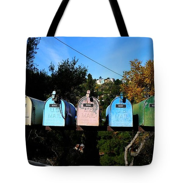 Colorful Mailboxes Tote Bag by Nina Prommer