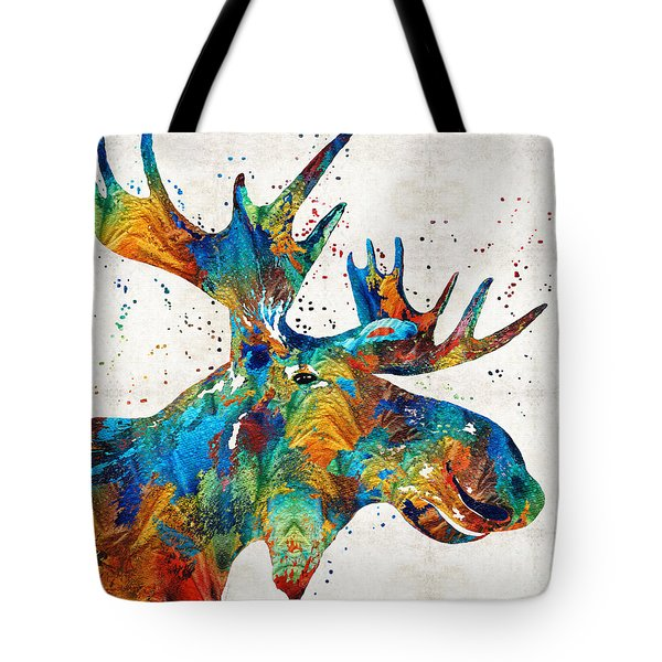 Colorful Moose Art - Confetti - By Sharon Cummings Tote Bag by Sharon Cummings