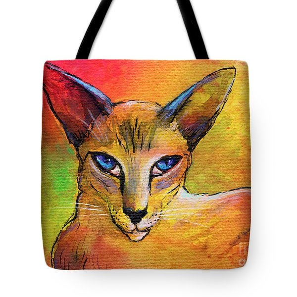 Colorful Oriental Shorthair Cat Painting Tote Bag by Svetlana Novikova