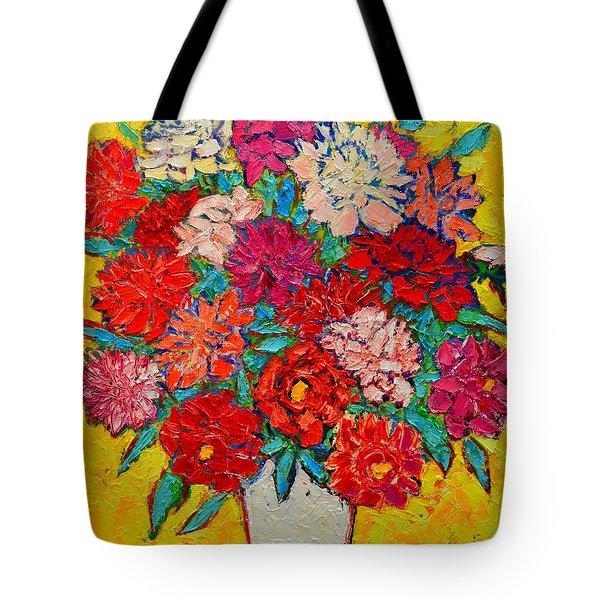 Colorful Peonies Tote Bag by Ana Maria Edulescu