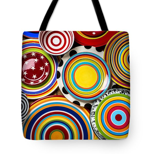 Colorful Plates Tote Bag by Garry Gay