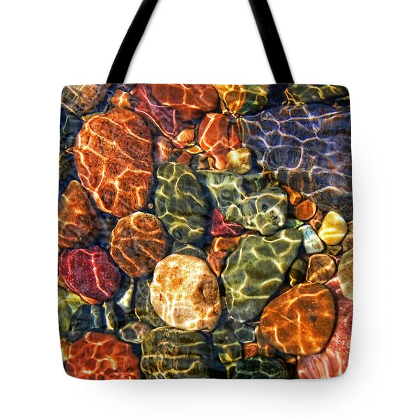 Colorful Rocks in Stream Bed Montana Tote Bag by Jennie Marie Schell