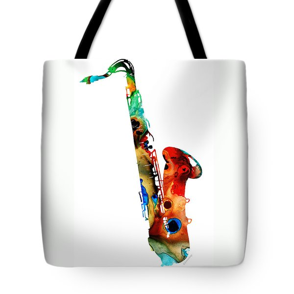 Colorful Saxophone By Sharon Cummings Tote Bag by Sharon Cummings