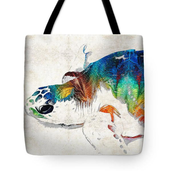 Colorful Sea Turtle By Sharon Cummings Tote Bag by Sharon Cummings