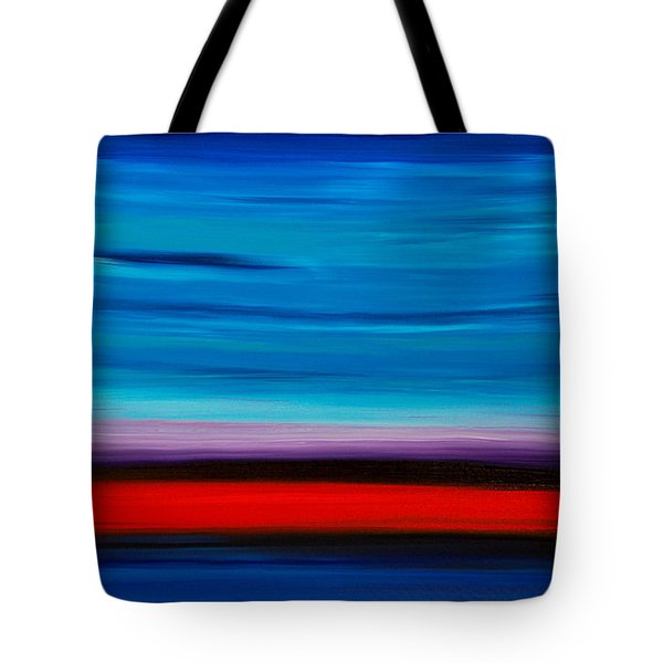 Colorful Shore - Blue And Red Abstract Painting Tote Bag by Sharon Cummings