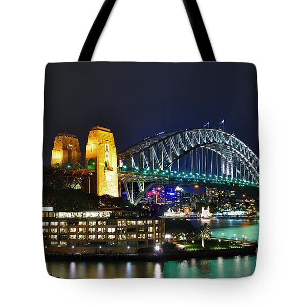 Colorful Sydney Harbour Bridge by Night Tote Bag by Kaye Menner