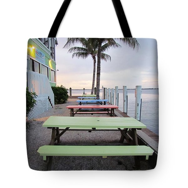 Colorful Tables Tote Bag by Cynthia Guinn