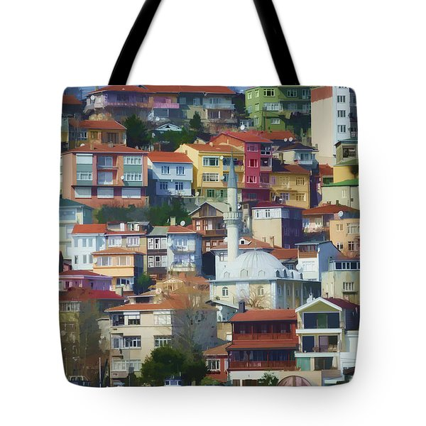 Colorful Town Tote Bag by Joan Carroll