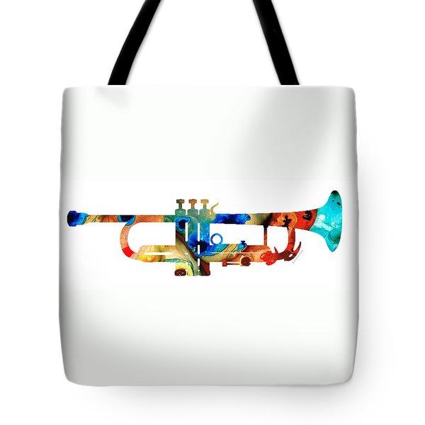 Colorful Trumpet Art By Sharon Cummings Tote Bag by Sharon Cummings