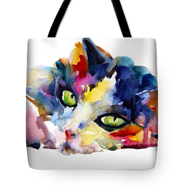 Colorful Tubby Cat Painting Tote Bag by Svetlana Novikova