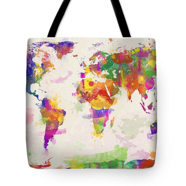 Colorful Watercolor World Map Tote Bag by Zaira Dzhaubaeva