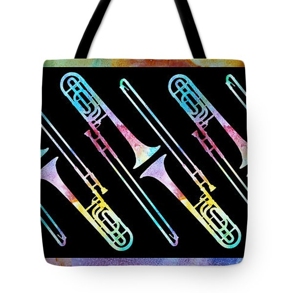 Colorwashed Trombones Tote Bag by Jenny Armitage