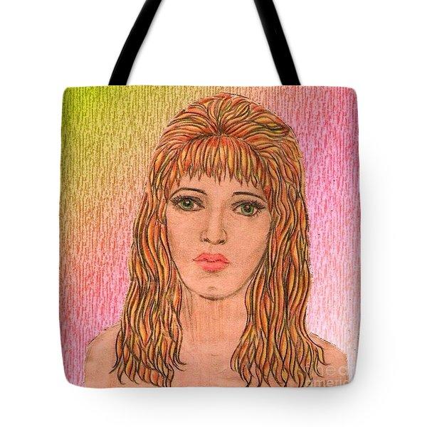Coloured Pencil Self Portrait Tote Bag by Joan-Violet Stretch