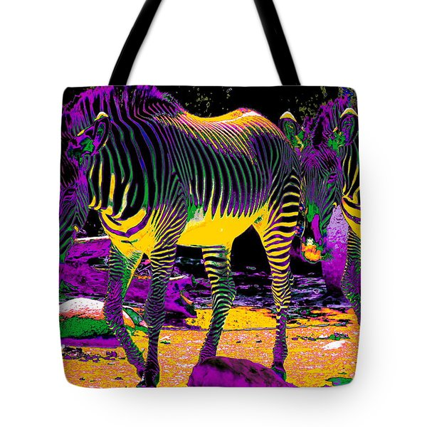 Colourful Zebras  Tote Bag by Aidan Moran
