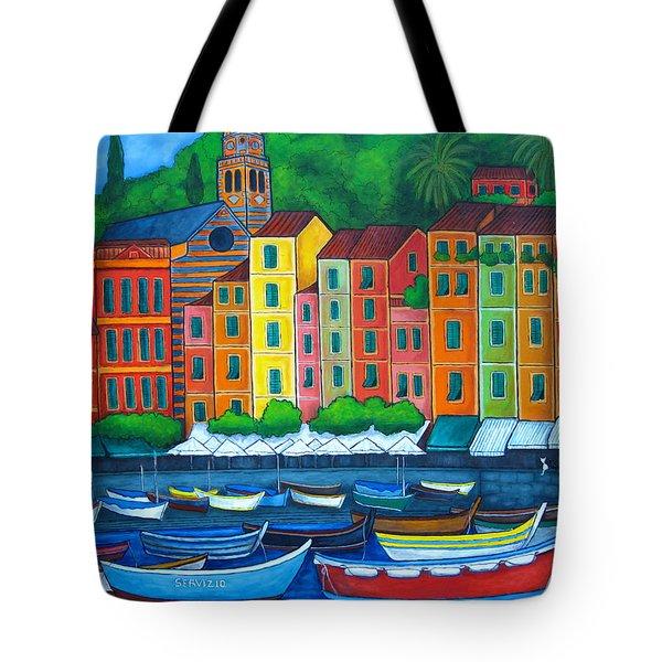 Colours Of Portofino Tote Bag by Lisa  Lorenz
