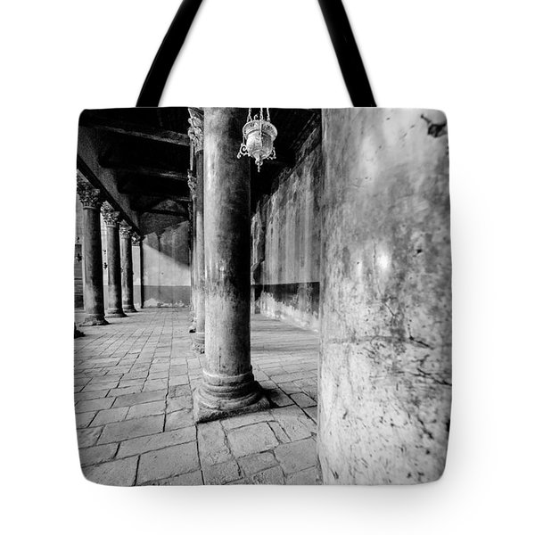 Columns At The Church Of Nativity Black And White Vertical Tote Bag by David Morefield