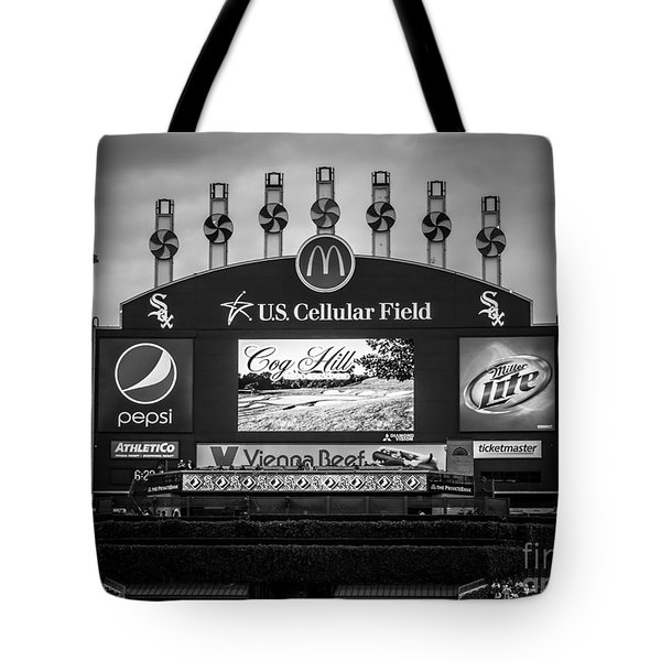 Comiskey Park U.s. Cellular Field Scoreboard In Chicago Tote Bag by Paul Velgos