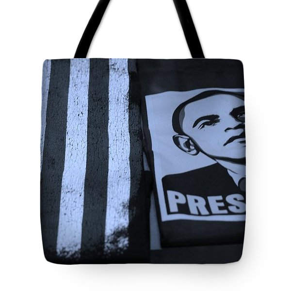 COMMERCIALIZATION OF THE PRESIDENT OF THE UNITED STATES in CYAN Tote Bag by ROB HANS