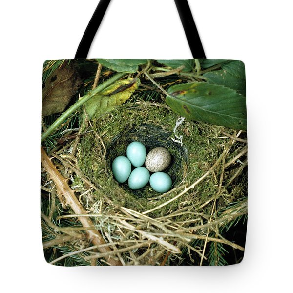 Common Cuckoo Cuculus Canorus Egg Laid Tote Bag by Jean Hall