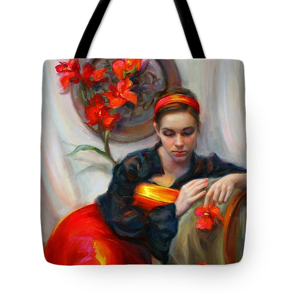 Common Threads - Divine Feminine in silk red dress Tote Bag by Talya Johnson