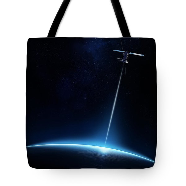Communication Between Satellite And Earth Tote Bag by Johan Swanepoel
