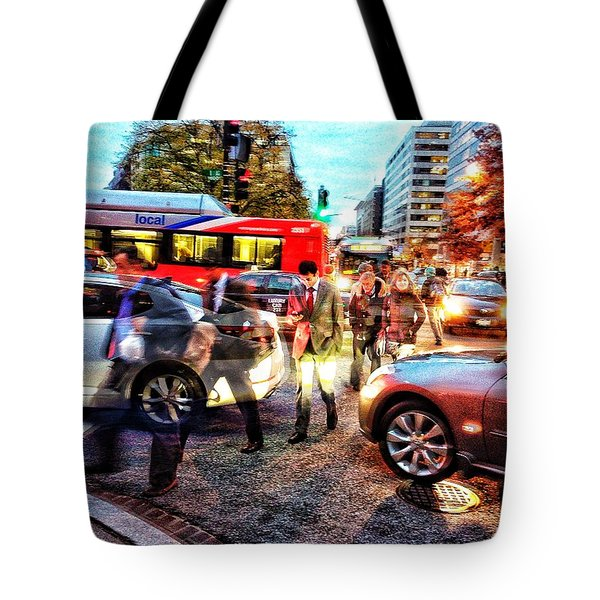 Commuter Ghosts At Rushour Tote Bag by Jim Moore