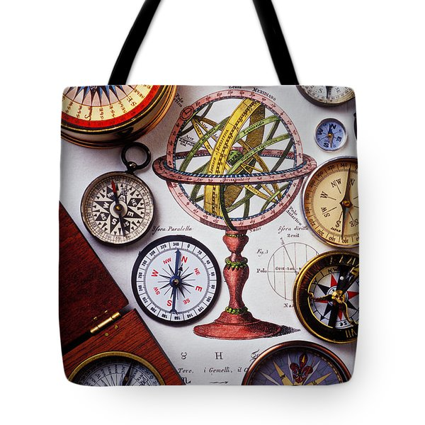 Compasses And Globe Illustration Tote Bag by Garry Gay