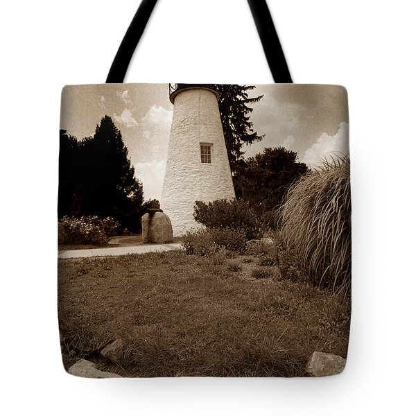 CONCORD POINT LIGHTHOUSE Tote Bag by Skip Willits