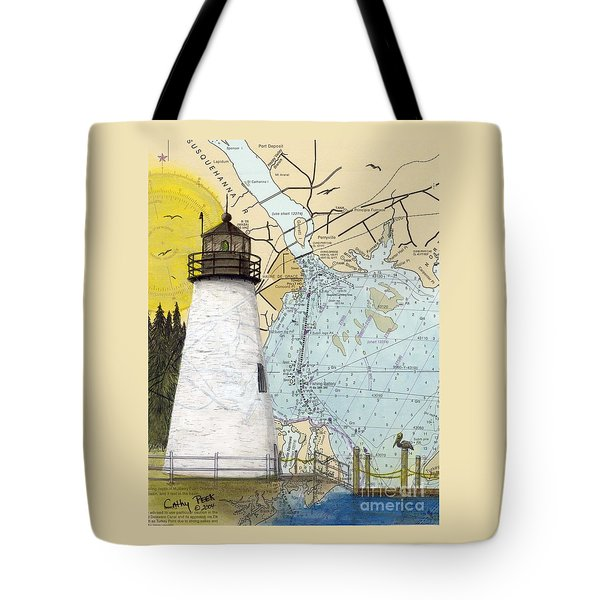 Concord Pt Lighthouse Md Nautical Chart Map Art Cathy Peek Tote Bag by Cathy Peek