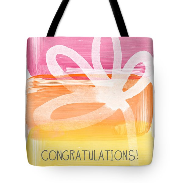 Congratulations- Greeting Card Tote Bag by Linda Woods