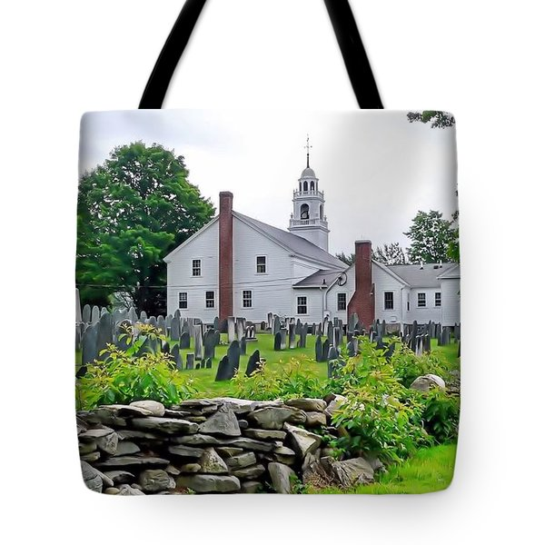 Congregational Church Cemetery Hollis Nh Tote Bag by Janice Drew