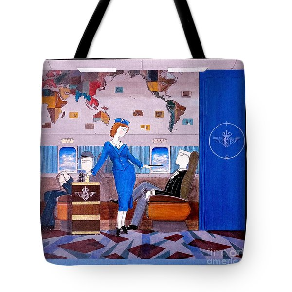 Constellation Businessman Served Martini By Sexy Stewardess Tote Bag by John Lyes