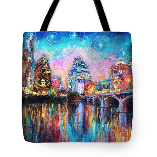 Contemporary Downtown Austin Art Painting Night Skyline Cityscape Painting Texas Tote Bag by Svetlana Novikova