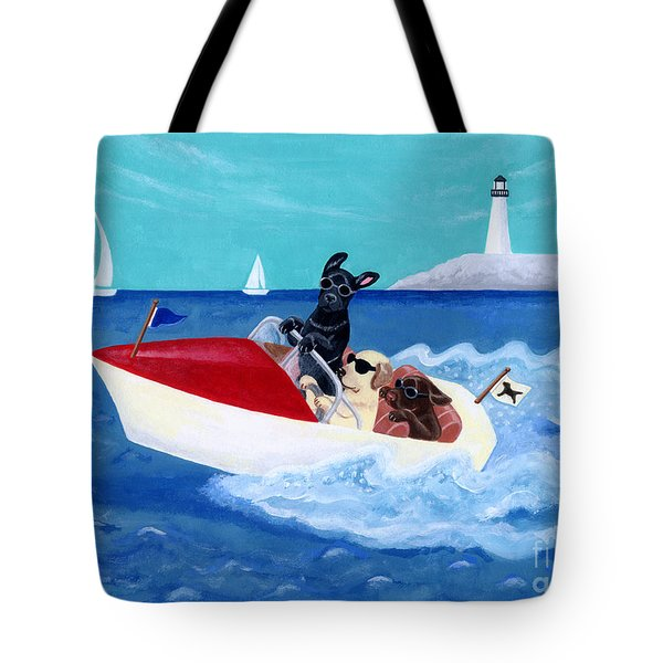 Cool Motorboat Labradors Tote Bag by Naomi Ochiai