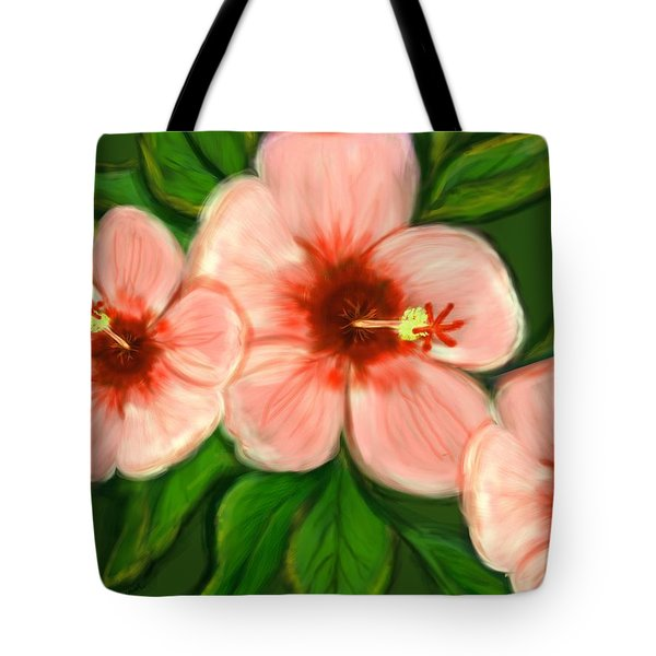 Coral Hibiscus  Tote Bag by Christine Fournier