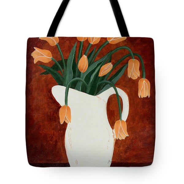 Coral Tulips In A Milk Pitcher Tote Bag by Barbara Griffin