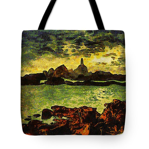 Corbiere Lighthouse Tote Bag by Unknown